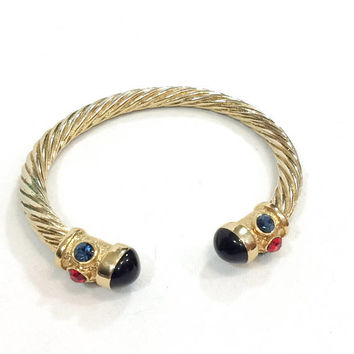 Small Gold Cable Cuff Bracelet, Textured Ends, Blue Green Red Rhinestones, Black Lucite Cabs, 1990s Mogul High Fashion Vintage Jewelry