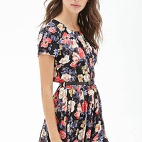 MapleClan Vintage Floral Short-Sleeved Chiffon Pleated Dress with Belt - S