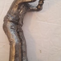 Vintage Michael Ricker Solid PEWTER Statue Trumpet Horn Player