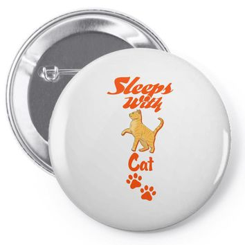 Sleeps With Cat Pin-back button