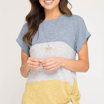 Color Block Twist Tops - Blue and Mustard