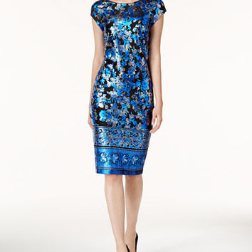 ECI Metallic Midi Sheath Dress - Metallic Dress - SLP - Macy's