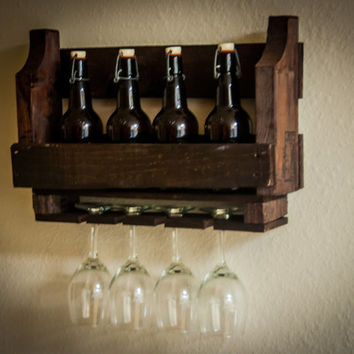 Rustic Wine Rack wooden wine rack Wall Mounted Hanging wine rack rustic wall decor reclaimed wood recycled pallet unique wine gift