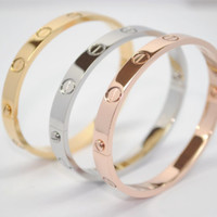 Designer Cartier Bracelet Gold Silver and Rose Gold Stainless Steel Bracelet Bangle
