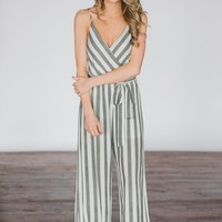 Not Your Bae Striped Jumpsuit