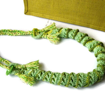 Crochet lariat, crochet choker, Knitting necklace, Thread necklace, Freeform crochet, Big necklace, Bold necklace, unique jewelry crochet