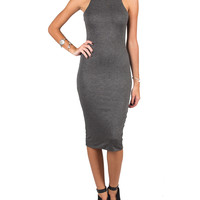 High Neck Body Con Dress - Charcoal - Large
