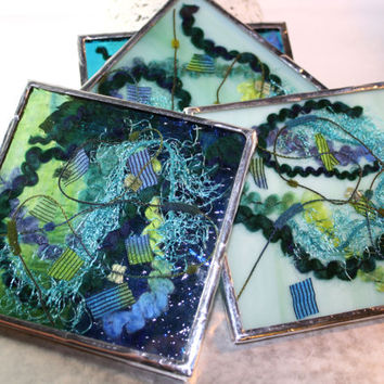 Teal Blue Glass Coaster Set, Kitchen Accessory, Stained Glass Art, Abstract Drink Coaster, Blue Kitchen Coaster, Colored Glass Kitchen Decor