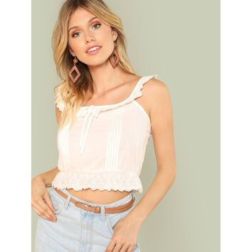 Eyelet Embroidered Ruffle Trim Pleated Detail Top