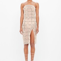 Missguided - Peace + Love Nude Grid Embellished Bandeau Midi Dress