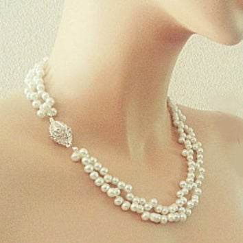 Pearl Necklace Handmade for Wedding, Bridal Necklace Rhinestone Swarovski