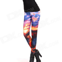 Elonbo Multi Color Galaxy Fashion Women Sexy High Waisted Stretchy Leggings Tights Pants