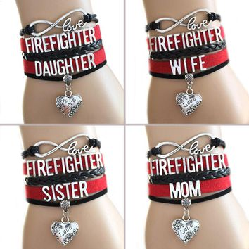 Firemen's family Infinity Bracelets FIREFIGHTER LOVE LOVER Leather bracelet  Sports Suede Leather.