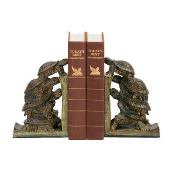 Sterling Pair Turtle Tower Bookends