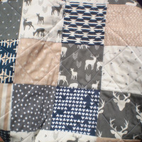Baby quilt, Baby blanket, baby girl or boy bedding, handmade baby quilt, crib quilt, tan, navy, grey, woodland, rustic, toddler, New Deer