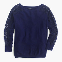 J.Crew Womens Crewneck Sweater With Edged Lace