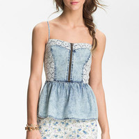 Mimi Chica Lace & Chambray Peplum Camisole (Juniors) | Nordstrom