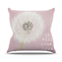 "Susannah Tucker ""It Will Come True"" Pink Flower Outdoor Throw Pillow"