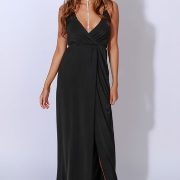 Silky & Sly Lace Up Maxi Black