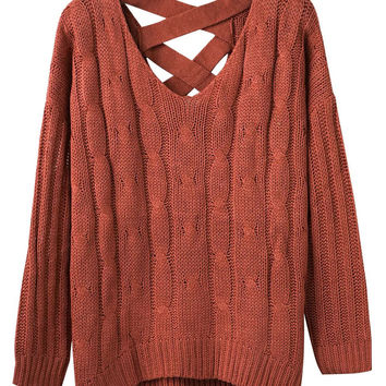 Orange V-neck Cable Cross Back Knit Jumper