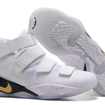 VAWA Nike Zoom Air Men's Lebron Soldier 11 Basketball Shoes White Golden