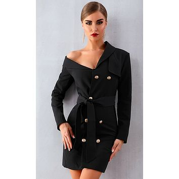Bad Habits Long Sleeve Double Breasted Button Asymmetric Collar Tie Belt Trench Coat Outerwear