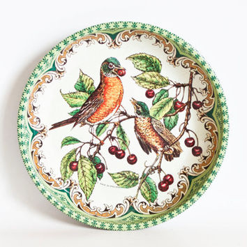 Vintage Daher Bird Print Tin Tray, Green Rim Robin Dish Mini Plate, Farmhouse Cottage Decor, Made in England