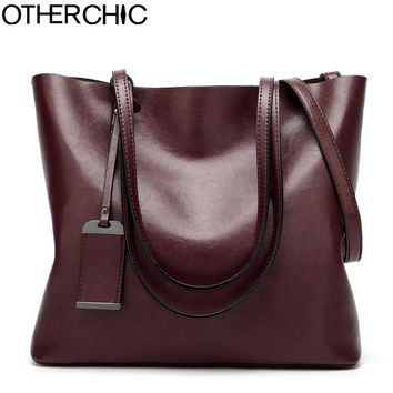 OTHERCHIC Women Fashion Brand Shoulder Bag for Women Bags A4 Book Leather Retro bags Women Simple Vintage Women Handbags 7N05-26