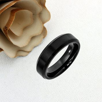 Cobalt Promise Ring Wedding Band Ring Men Women Unisex Personalized Engraving 6mm Brushed Center High Polish Black Ring - ZDPCO410-6MM