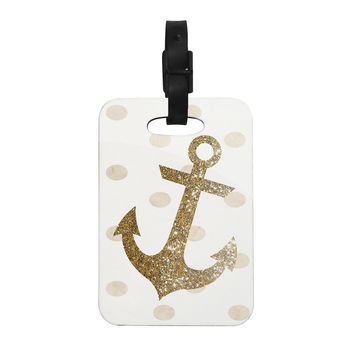 "Nika Martinez ""Glitter Anchor"" Gold Sparkles Decorative Luggage Tag"