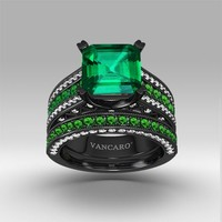 Green and White Cubic Zirconia with Asscher Cut Women's Black Wedding Ring Set