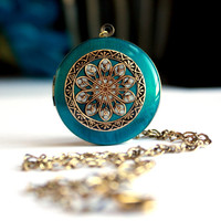 Women's Locket, Blue Locket, Photo Locket, Valentines Day Necklace, Romantic Love Gift For Her