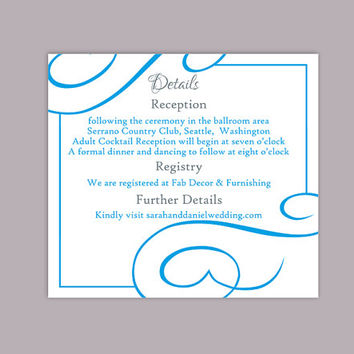 DIY Wedding Details Card Template Editable Text Word File Download Printable Details Card Aqua Blue Details Card Information Cards