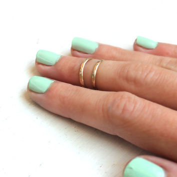 14k yellow Gold fill knuckle ring, stacking rings - midi rings, hammered, textured knuckle rings, gold rings