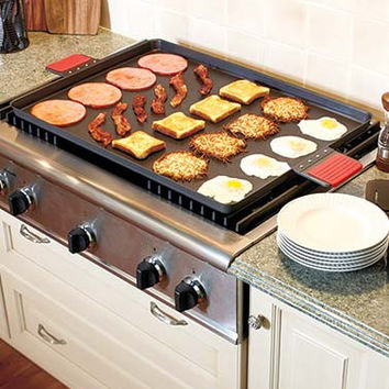 Jumbo Carbon Steel Complete Stove Burner Coverage Griddle