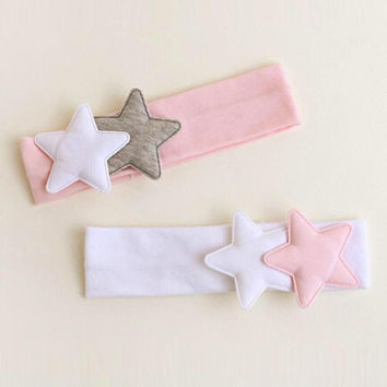 2PCS/LOT  Girls Hair Band Cloth Star Head Accessories Hair band Baby Elastic Pentagrams Headwear For Children YL SM6