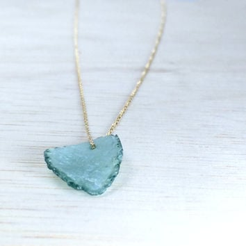 Roman glass necklace  Sea glass jewelry Solid gold necklace