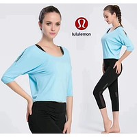 Lululemon Women Fashion Gym Yoga Sport Tunic Shirt Top Blouse