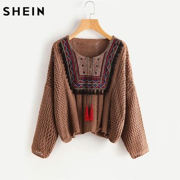 SHEIN Tasseled Tie Embroidered Yoke Eyelet Jumper Autumn 2017 Coffee Round Neck Long Sleeve Casual Loose Sweater