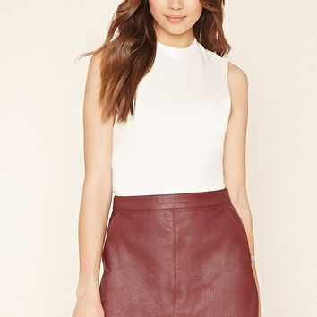 Contemporary Faux Leather Skirt