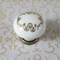 Ceramic Dresser Drawer Knobs Handles Pulls White Gold Ceramic / French Porcelain Kitchen Cabinet Handle Knob Pull Furniture Hardware 150