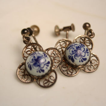 Sterling Delft Screw Post Earrings Vintage Silver Delft Jewelry