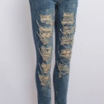 Acid Wash Destroyed Boyfriend Jeans with Chains