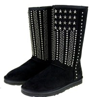 Silver Stars and Studs Faux Shearling Lined Boots