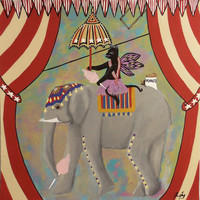 Circus Kitty's Cotton Candy Date an Original Folk Art Painting of a Vintage Circus by Jeanne Fry Circus Kitty Rides on Elephant