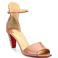Christian Louboutin - Mini Stud Patent Leather Ankle-Strap Sandals - Saks Fifth Avenue Mobile