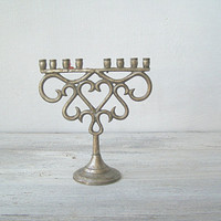 Mid Century Art Deco Ornate 8 Arms Metal Candelabra, Incomplete Hanukkah Menorah, Romantic Table Centerpiece, Newlywed Wedding Gift Decor