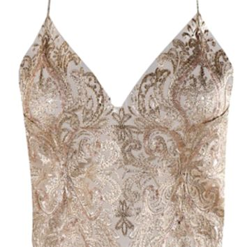 Mimi Lace Embroidered Backless Tank Top - Gold