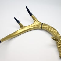 Hand Painted Whitetail Deer Antler Primitive in Gold Blue Silver