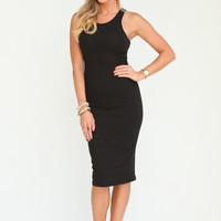 Black Mid Length Racer Back Dress